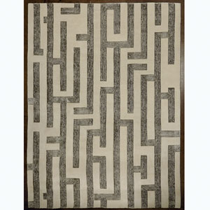 Studio A Labyrinth Gray Rectangular: 5 Ft. x 8 Ft. Are Rug