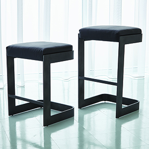 Studio A Regan Graphite and Black Leather Low Barstool
