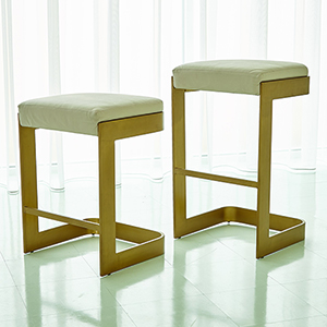 Studio A Regan Antique Brass and Ivory Leather Low Barstool