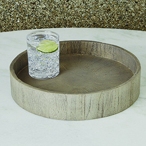 Studio A Driftwood Grey Round Topper Tray