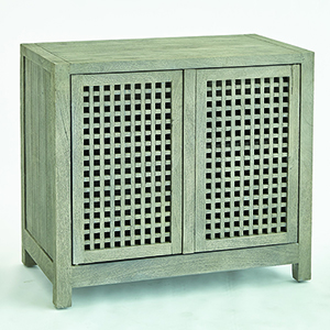 Studio A Driftwood Grey Lattice Two-Door Cabinet