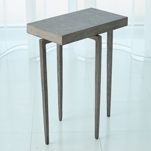 Laforge Accent Table-Natural Iron/Flamed Granite
