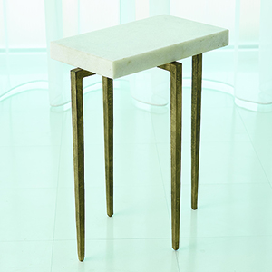 Studio A Laforge Antique Gold Accent Table with White Honed Marble