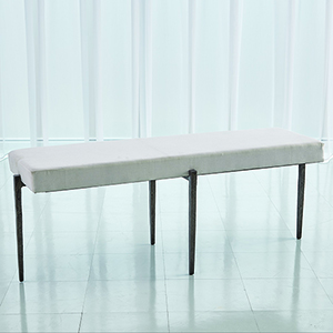 Studio A Laforge Natural Iron Large Bench with Muslin Cushion