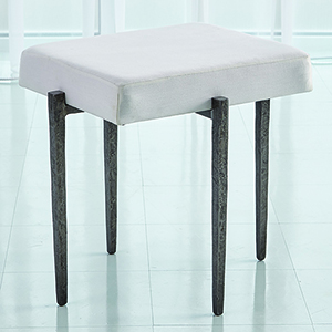 Studio A Laforge Natural Iron Small Bench with Muslin Cushion
