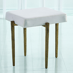 Studio A Laforge Antique Gold Small Bench with Muslin Cushion