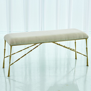 Studio A Spike Antique Brass Large Bench with Muslin Cushion