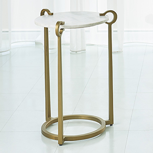 Studio A White Marble and Brass Round Clamp Accent Table