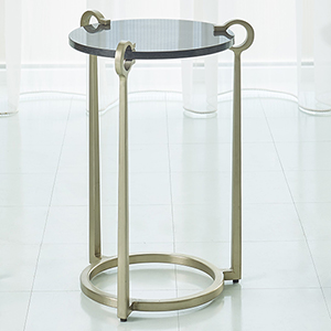 Studio A Black Granite and Nickel Round Clamp Accent Table