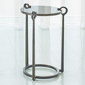 Studio A Brown Marble and Bronze Round Clamp Accent Table