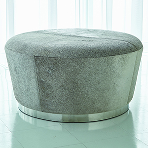 Studio A Tapered Grey Hair-on-Hide Ottoman