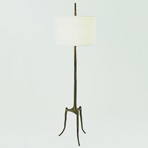 Studio A Bronze Two-Light Trident Floor Lamp