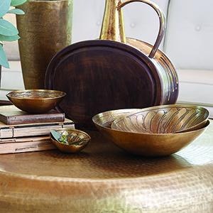 Studio A Antique Brass Sun Etched Large Bowl