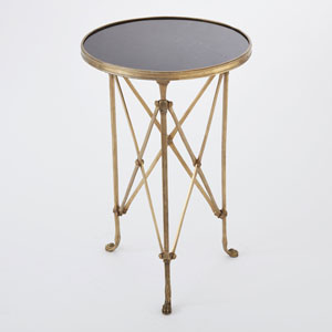 Directoire Brass and Black Granite Table