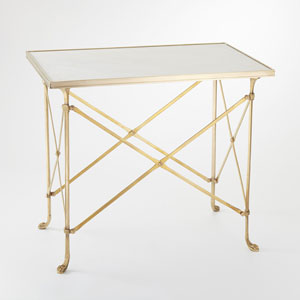 Rectangular Directories Brass and White Marble End Table