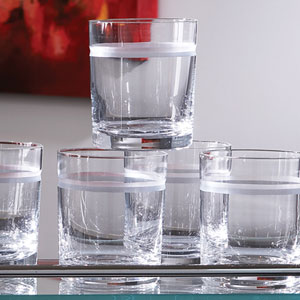 Clear Double Old Fashion One Band Drinking Glasses, Set of Six