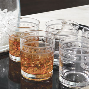 Clear Double Old Fashion Two Band Drinking Glasses, Set of Six