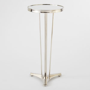 French Moderne Nickel and Mirror Side Table