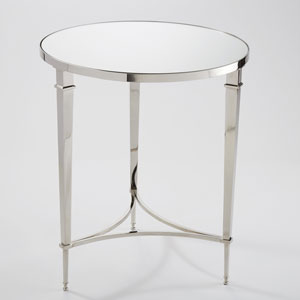 Round French Square Leg Nickel and Mirror Table