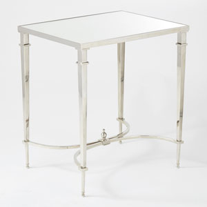Rectangular French Nickel and Mirror End Table