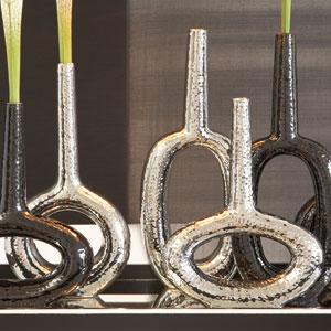Keyhole Horizontal Silver Vase