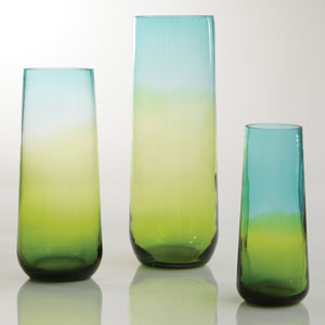 Ombre Taper Aqua and Gold Large Vase