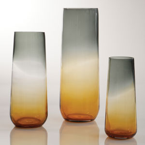 Ombre Taper Gray and Amber Large Vase