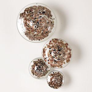Metallic Glass Wall Mushrooms, Set of Four