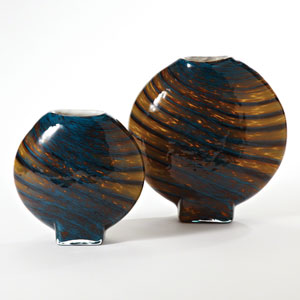 Cobalt Gold Swirl Small Vase