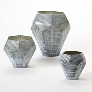 Faceted Stria Gray Large Vase