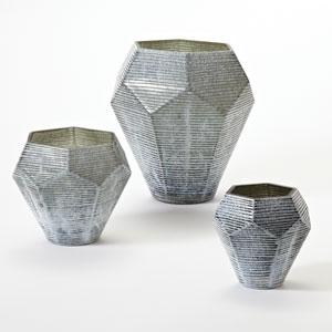Faceted Stria Gray Medium Vase