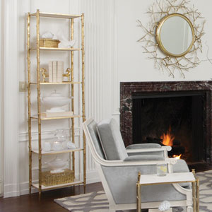 Brass and White Marble Arbor Etagere