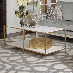 Brass and White Marble Arbor Cocktail Table