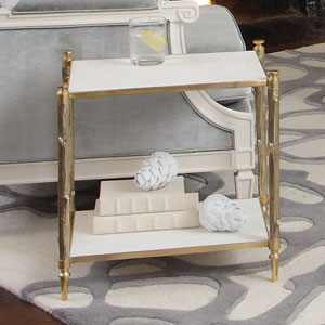 Brass and White Marble Arbor Side Table