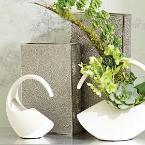 Organic Lace Large Silver Vase