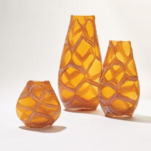 Criss-Cross Amber Large Vase