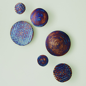 Torched Blue Spiral Wall Discs, Set of 3