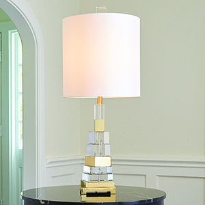 Brass One-Light Twisted Crystal Lamp