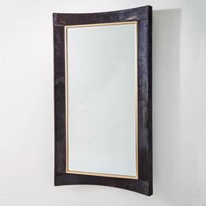 Curved Black Hair-on-Hide Floor Mirror