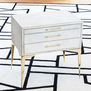 Stiletto White Hair-on-Hide Bedside Table