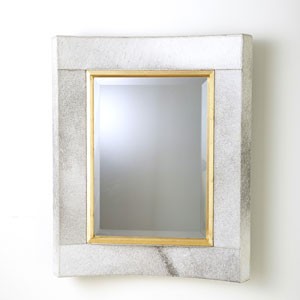 Curved White Hair-on-Hide Short Mirror