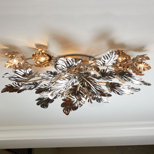 Dancing Leaves Nickel Ceiling Fixture