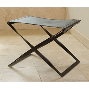 Folding Iron and Brown Leather Stool