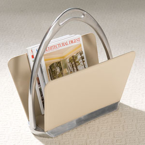 Beige Leather Stirrup Magazine Dump