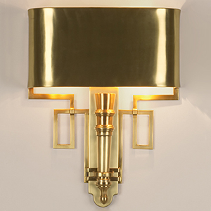 Hardwired Antique Brass Two-Light Torch Sconce