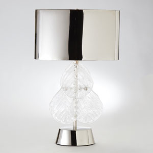 Murano Glass Leaf Nickel Two-Light Table Lamp