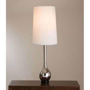 Nickel One-Light Bulb Vase Table Lamp