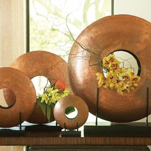 Copper Medium Disc Vase Only