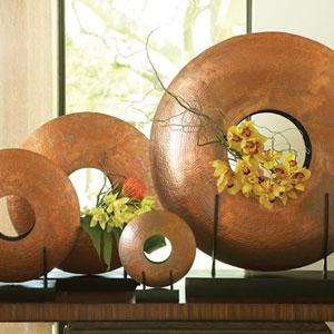Copper Extra Large Disc Vase Only