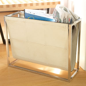 Magazine Beige Leather Caddy